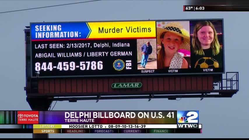 BILLBOARD IN TERRE HAUTE HIGHLIGHTS DELPHI HOMICIDE CASE_98344148
