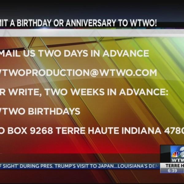 WTWO Today Birthdays & Anniversaries 5/31/2019