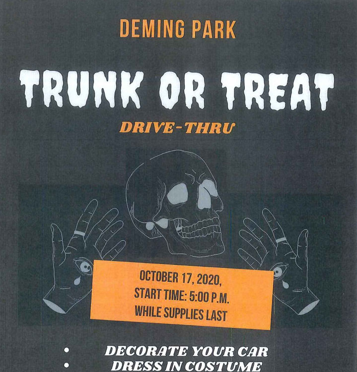 Deming Park Christmas Lights 2020 Deming Park drive thru Trunk or Treat this Saturday